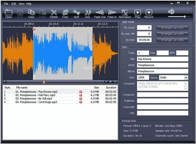 X-Wave MP3 Cutter Joiner - Download for Windows